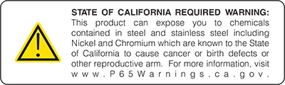 State of California Required Warning