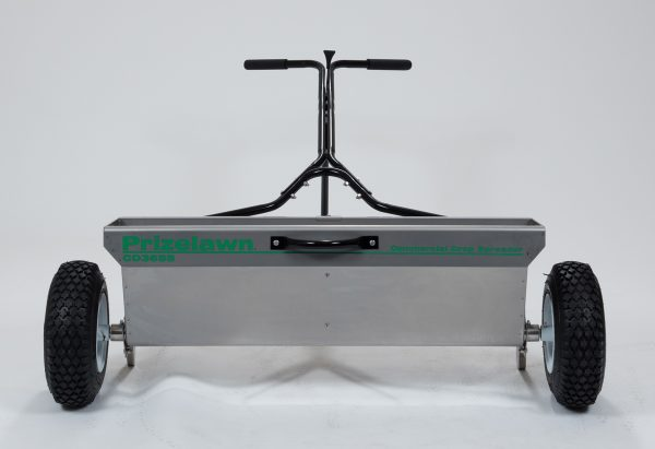 PRIZELAWN 100LB STAINLESS STEEL COMMERCIAL DROP SPREADER